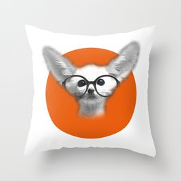Fennec Fox wearing glasses Throw Pillow