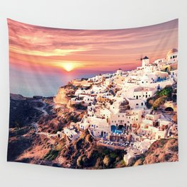 Santorini Sunset View Wall Tapestry