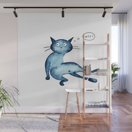 Funny frustrated blue cat Wall Mural