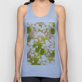 Apple tree branches with lovely flowers and buds on a pastel green background Unisex Tank Top