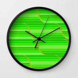 Geo Stripes - Green Wall Clock