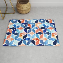 Marble Mosaic Blues & Rustic Reds Rug
