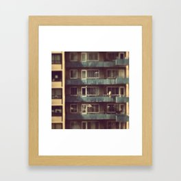 Blue balconies in MTL Framed Art Print
