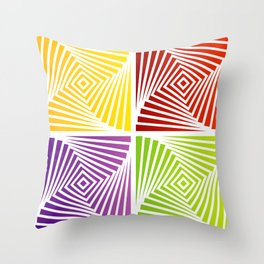 Colorful Squares twirling from the Center. Optical Illusion of PerspectiveColorful Squares twirling Throw Pillow