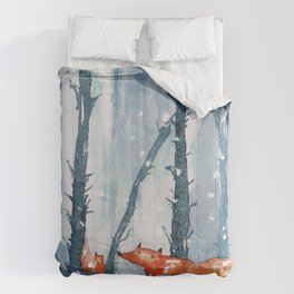 Foxes in forest Comforters
