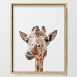 Funny Giraffe Portrait Art Print, Cute Animals, Safari Animal Nursery, Kids Room Poster Serving Tray