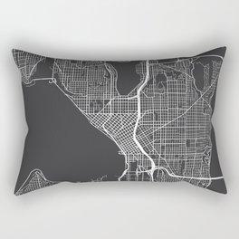 Seattle Map, USA - Gray Rectangular Pillow