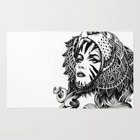 tattoos Area & Throw Rugs featuring Tigress by BIOWORKZ