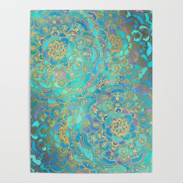Sapphire & Jade Stained Glass Mandalas Poster