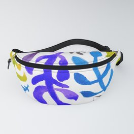 Matisse Inspired Watercolor Pattern (Blue, Green, Purple, Violet, and Gray) Fanny Pack