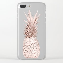 Pink Gold Pineapple Clear iPhone Case