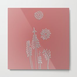 Forest Bathing - Coral  Metal Print