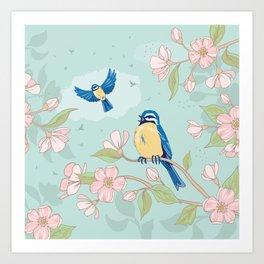 Blue Tits and Blossom Art Print