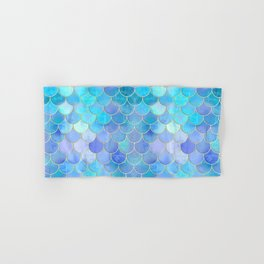 Aqua Pearlescent & Gold Mermaid Scale Pattern Hand & Bath Towel
