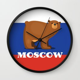 Moscow Bear and flag travel poster. Wall Clock
