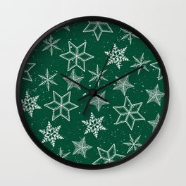 Snowflakes On Green Background Wall Clock