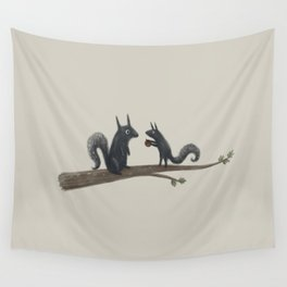 Autumn Squirrels Wall Tapestry