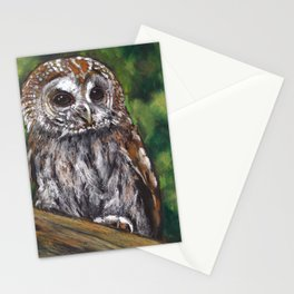 Tawny Owl, Oil Pastel Painting, Wildlife Stationery Cards