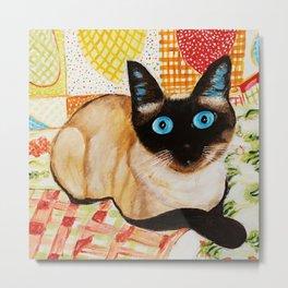 Misha the beautiful Siamese Cat Metal Print