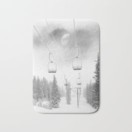 Chairlift Moon Break // Riding the Mountain at Copper Colorado Luna Sky Peeking Foggy Clouds Bath Mat