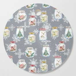 Christmas Jars Grey Cutting Board