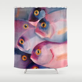Violet and Blue Fish swimming in sea Shower Curtain