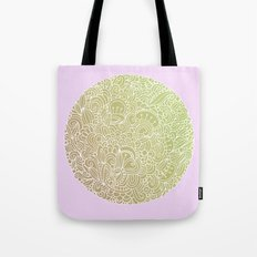 Detailed circle, gold rose Tote Bag