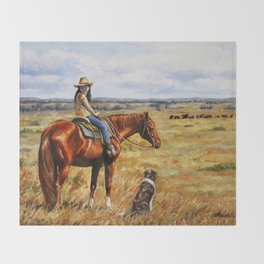 Young Cowgirl on Cattle Horse Throw Blanket