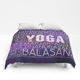 Yoga Asanas  Word Art  on Purple Comforters