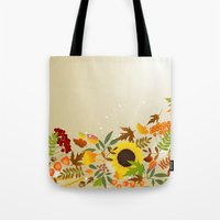 thanksgiving Tote Bags featuring Golden Thanksgiving by FantasyArtDesigns