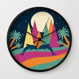 Mountains and dolphins Wall Clock
