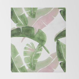 Tropical Leaves Green And Pink Throw Blanket