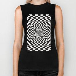 Checkered Optical Illusion Biker Tank