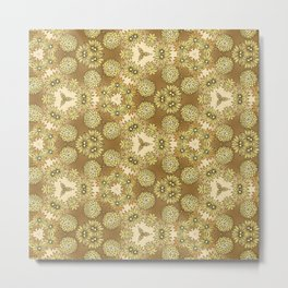 Abstract Gold Floral Metal Print