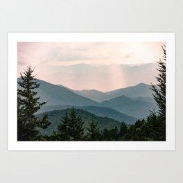 Smoky Mountain Pastel Sunset Art Print