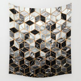 Marble Cubes - Black and White Wall Tapestry
