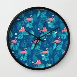 Tropical flamigo Wall Clock
