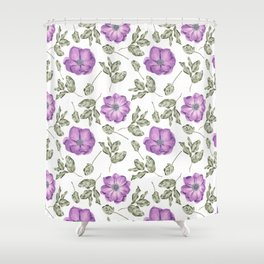 Lavender pastel green hand painted floral leaves pattern Shower Curtain