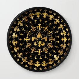 Fleur-de-lis - circular ornament - Gold and black Wall Clock