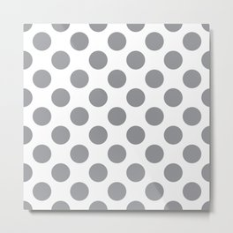 Grey Large Polka Dots Pattern Metal Print