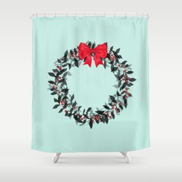 Christmas Wreath with Red Bow #Christmas #holidays Shower Curtain
