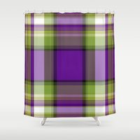 plaid Shower Curtains featuring Plaid by Kevin Rogerson