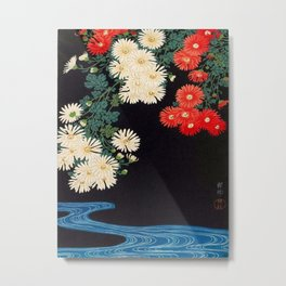Ohara Koson Chrysanthemums and Running Water 1931 Japanese Woodblock Print Vintage Historical Metal Print
