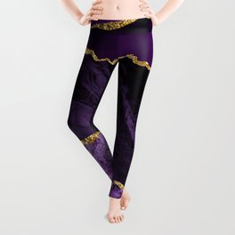 Purple & Lilac Silk Folds With Gold Veins Marble Leggings
