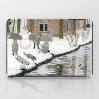 toddler iPad Cases featuring Children Building A Snowman by Yuliya