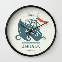 Brave small boat print Wall Clock