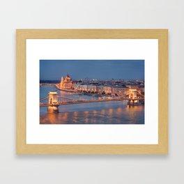 Chain Bridge at Dusk. Budapest. Framed Art Print