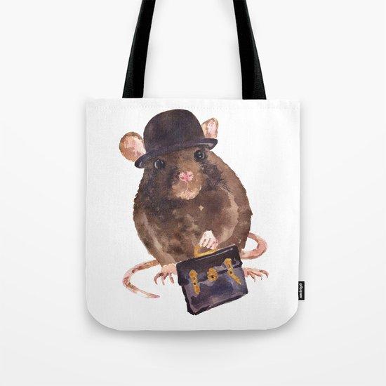 rat, journalist, office rat, rat in hat, cheeky rat, British, funny rat Tote Bag