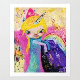 Unicorn Rainbow Girl Art Print