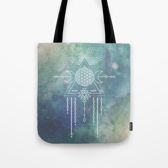Mandala FLOWER OF LIFE - Turquoise Teal Blue Magical Tribal Galaxy Stars Symbol Tote Bag